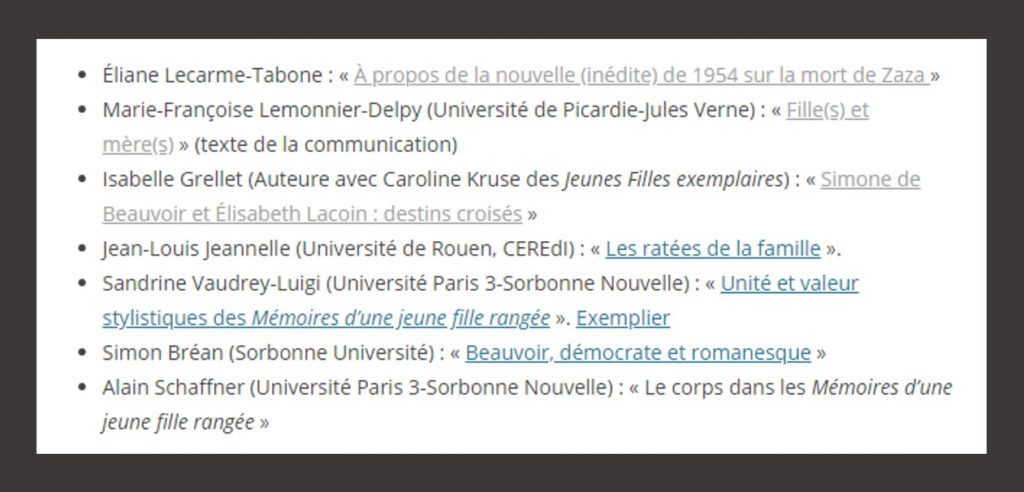 Journée agrégation Simone de Beauvoir et Zaza octobre 2018